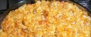 Massas gratinadas com legumes e bacon