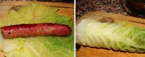 Salsichas Enroladas em Couve Lombarda